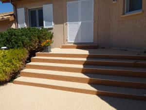escalier terrasse en granulat