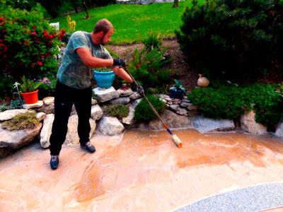 préparation support du tapis de pierre
